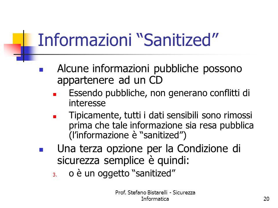 Prof. Stefano Bistarelli - Sicurezza Informatica20 Informazioni Sanitized Alcune informazioni pubbliche possono appartenere ad un CD Essendo pubbliche