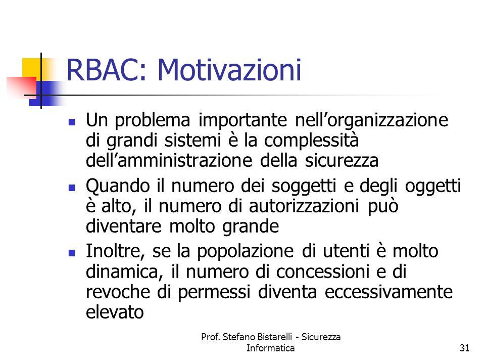 Prof. Stefano Bistarelli - Sicurezza Informatica31 RBAC: Motivazioni Un problema importante nellorganizzazione di grandi sistemi è la complessità dell