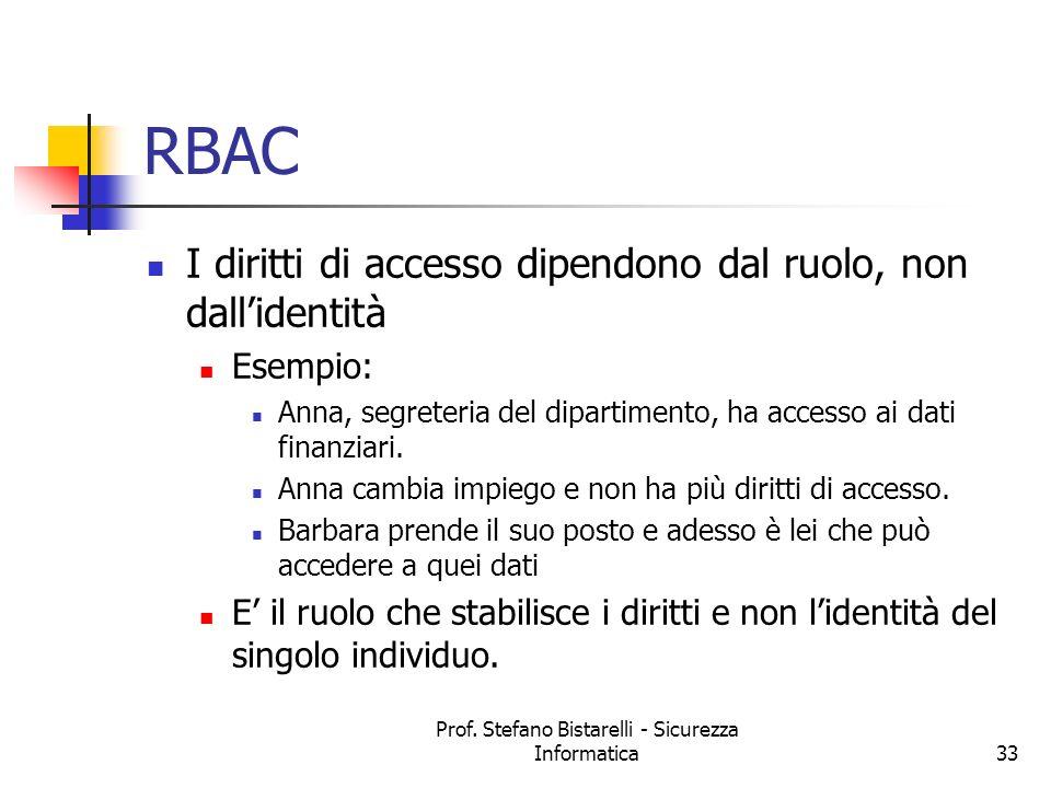 Prof. Stefano Bistarelli - Sicurezza Informatica33 RBAC I diritti di accesso dipendono dal ruolo, non dallidentità Esempio: Anna, segreteria del dipar