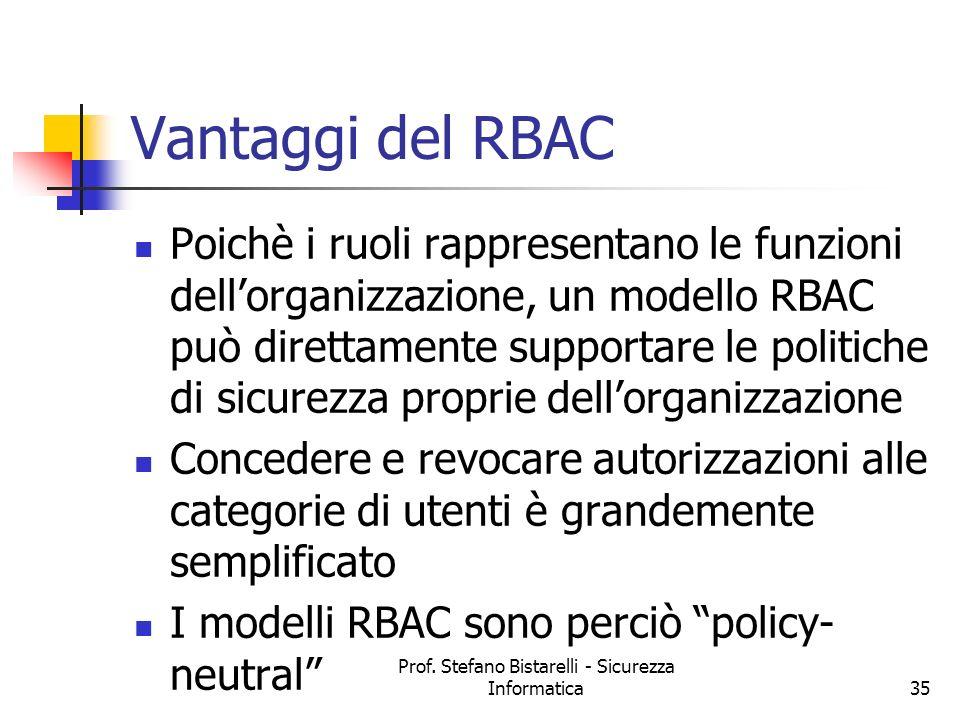 Prof. Stefano Bistarelli - Sicurezza Informatica35 Vantaggi del RBAC Poichè i ruoli rappresentano le funzioni dellorganizzazione, un modello RBAC può
