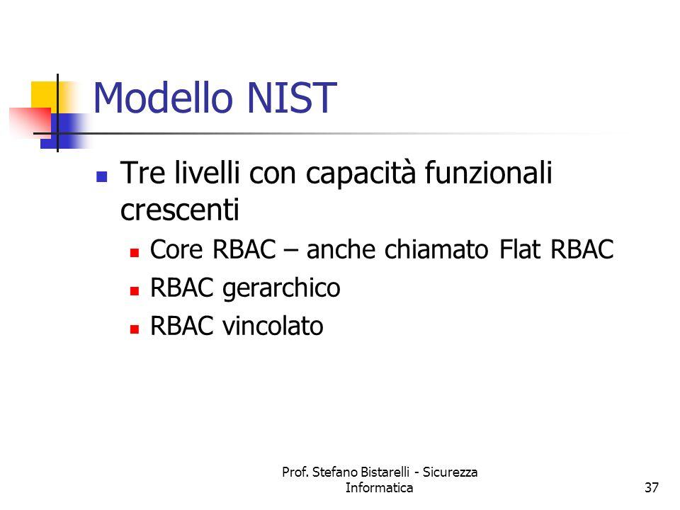 Prof. Stefano Bistarelli - Sicurezza Informatica37 Modello NIST Tre livelli con capacità funzionali crescenti Core RBAC – anche chiamato Flat RBAC RBA