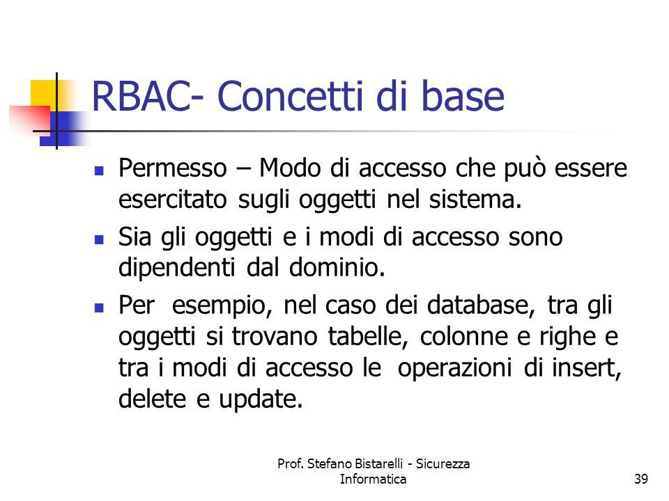 Prof. Stefano Bistarelli - Sicurezza Informatica39 RBAC- Concetti di base Permesso – Modo di accesso che può essere esercitato sugli oggetti nel siste