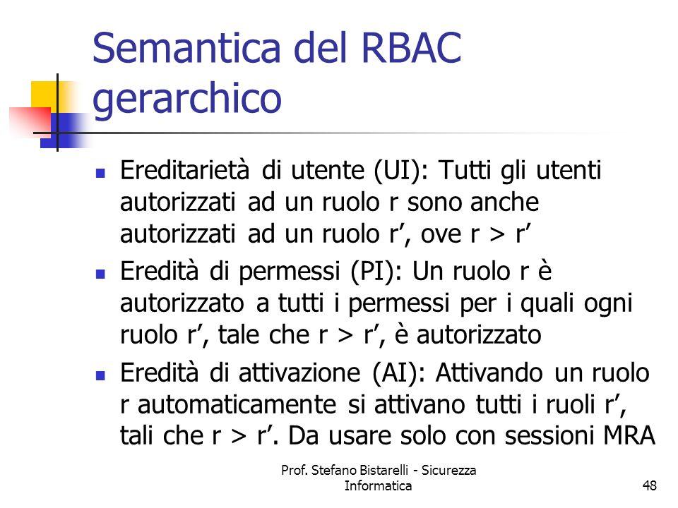 Prof. Stefano Bistarelli - Sicurezza Informatica48 Semantica del RBAC gerarchico Ereditarietà di utente (UI): Tutti gli utenti autorizzati ad un ruolo