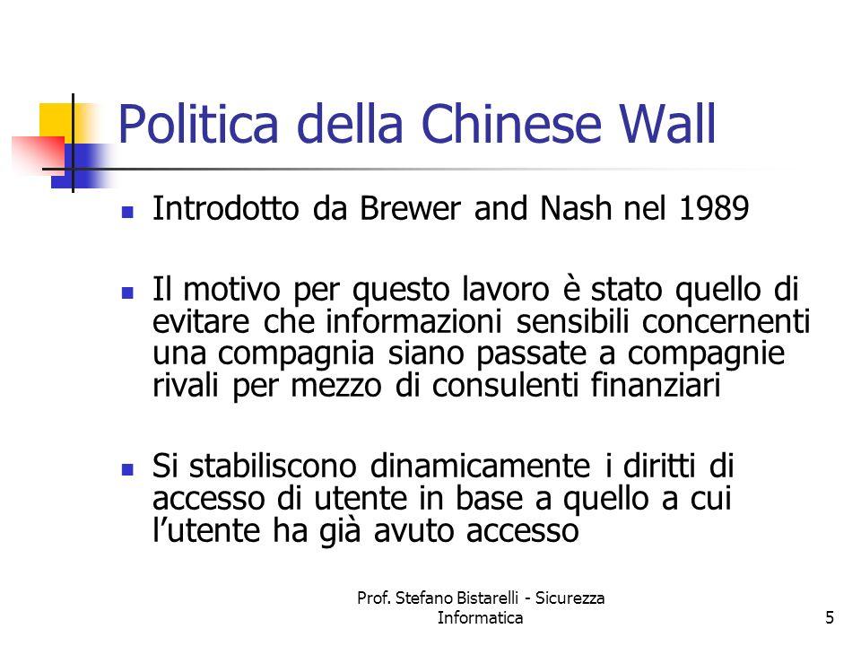 Prof. Stefano Bistarelli - Sicurezza Informatica5 Politica della Chinese Wall Introdotto da Brewer and Nash nel 1989 Il motivo per questo lavoro è sta