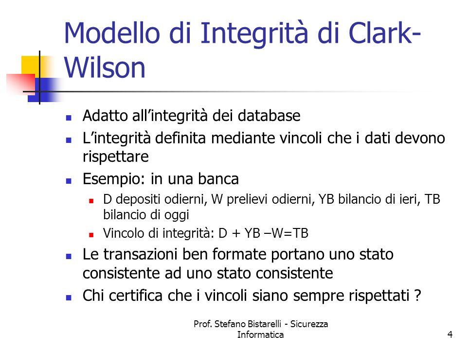 Prof. Stefano Bistarelli - Sicurezza Informatica4 Modello di Integrità di Clark- Wilson Adatto allintegrità dei database Lintegrità definita mediante
