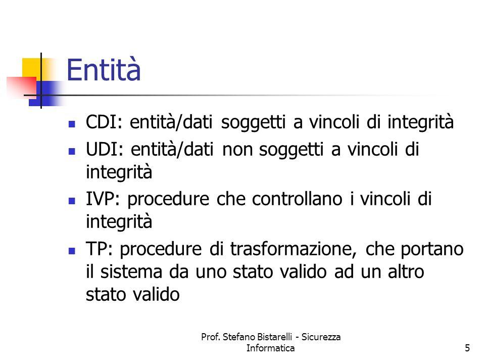 Prof. Stefano Bistarelli - Sicurezza Informatica5 Entità CDI: entità/dati soggetti a vincoli di integrità UDI: entità/dati non soggetti a vincoli di i