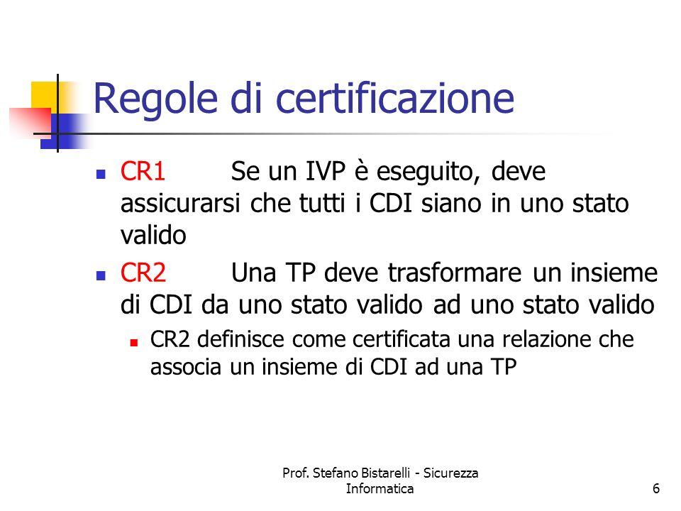 Prof. Stefano Bistarelli - Sicurezza Informatica6 Regole di certificazione CR1Se un IVP è eseguito, deve assicurarsi che tutti i CDI siano in uno stat