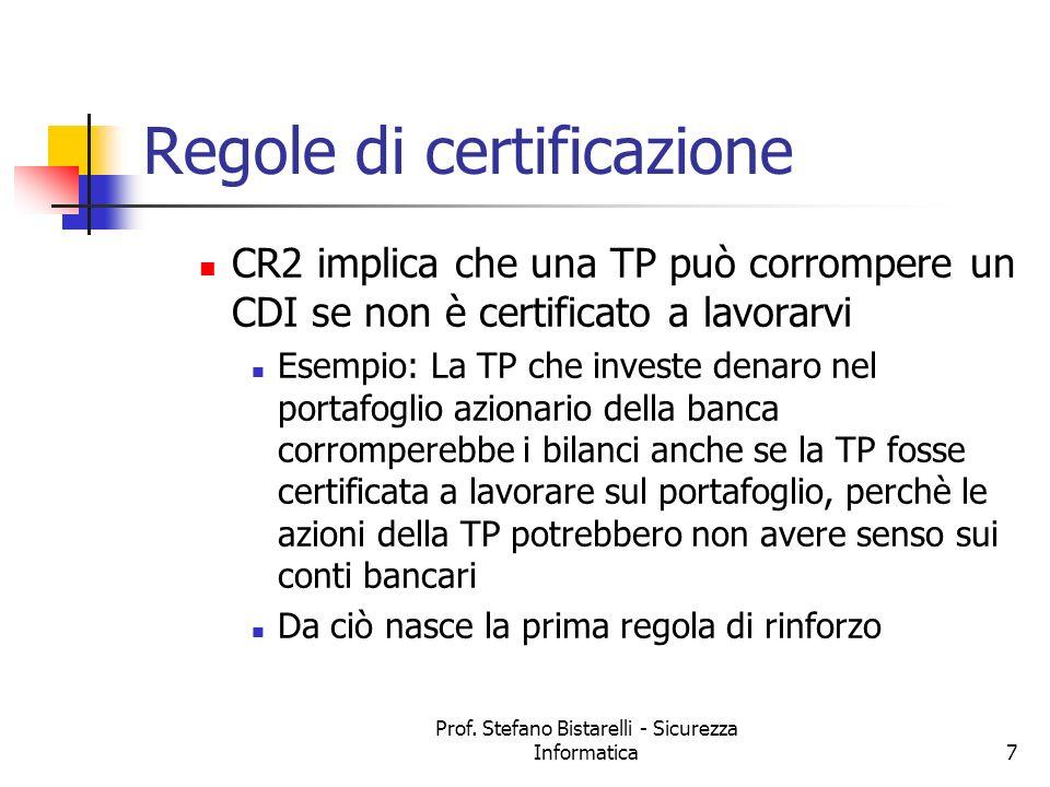 Prof. Stefano Bistarelli - Sicurezza Informatica7 Regole di certificazione CR2 implica che una TP può corrompere un CDI se non è certificato a lavorar