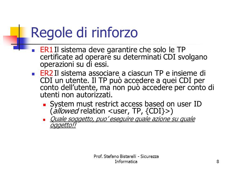 Prof. Stefano Bistarelli - Sicurezza Informatica8 Regole di rinforzo ER1Il sistema deve garantire che solo le TP certificate ad operare su determinati