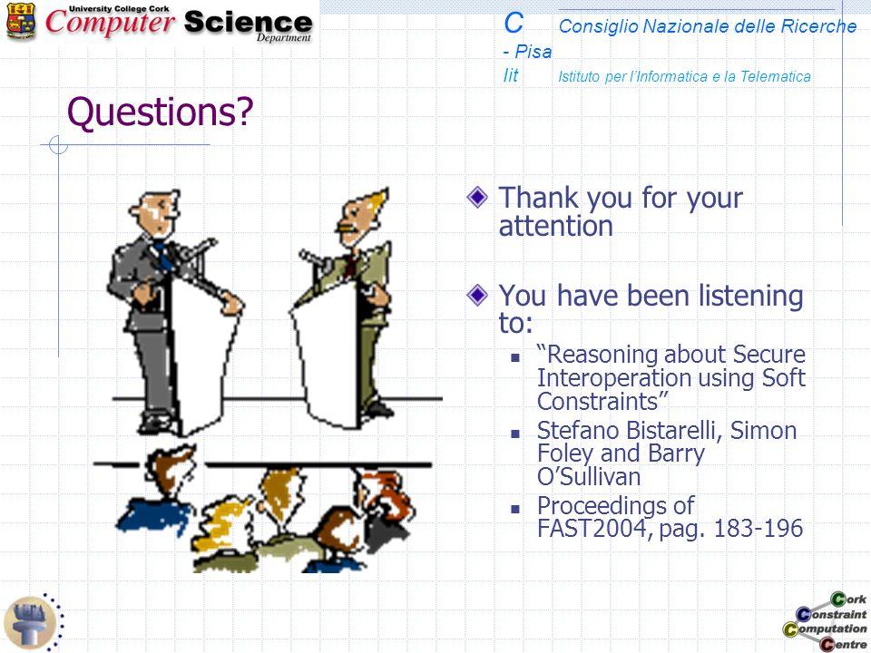 C Consiglio Nazionale delle Ricerche - Pisa Iit Istituto per lInformatica e la Telematica Questions? Thank you for your attention You have been listen