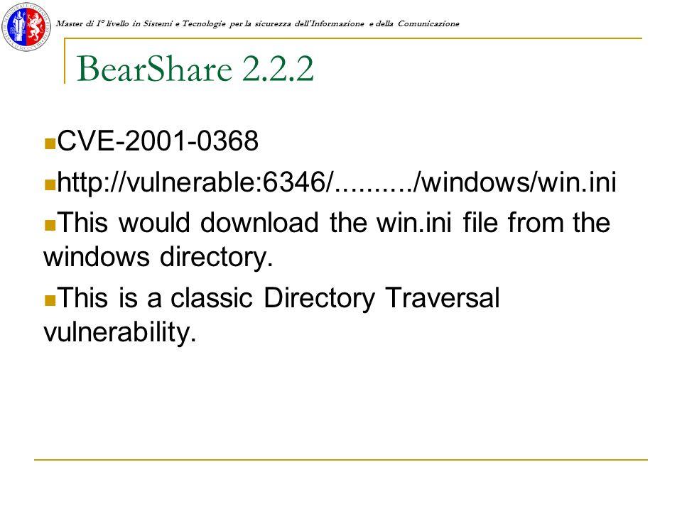 Master di I° livello in Sistemi e Tecnologie per la sicurezza dell Informazione e della Comunicazione BearShare 2.2.2 CVE-2001-0368 http://vulnerable:6346/........../windows/win.ini This would download the win.ini file from the windows directory.