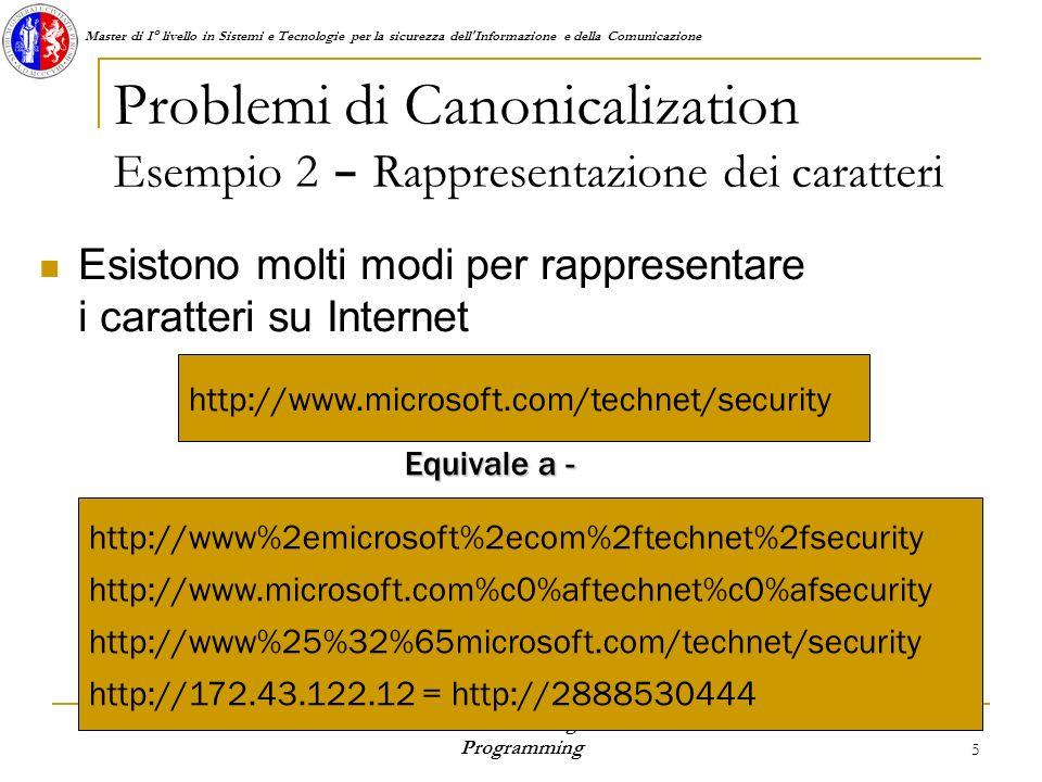 Master di I° livello in Sistemi e Tecnologie per la sicurezza dell Informazione e della Comunicazione S.