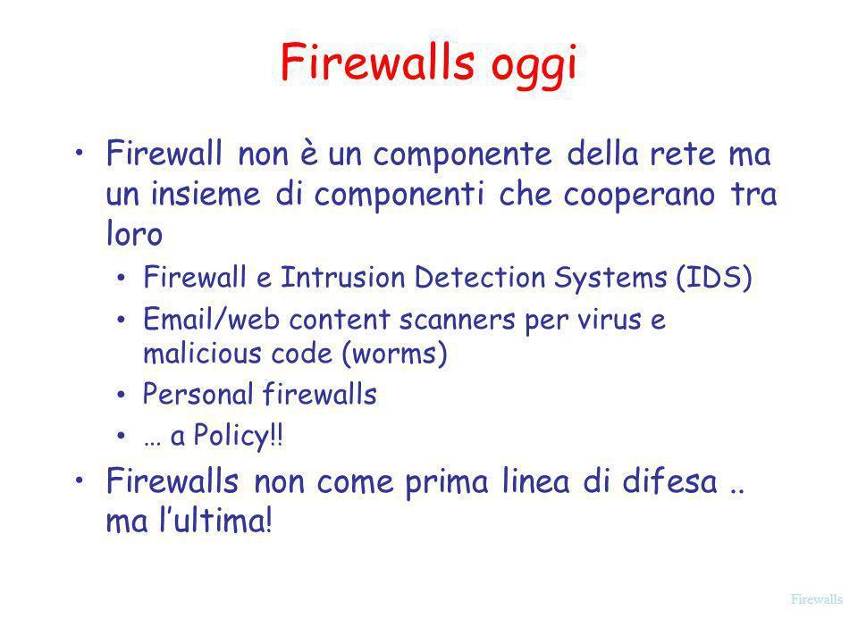 Firewalls Firewalls oggi Firewall non è un componente della rete ma un insieme di componenti che cooperano tra loro Firewall e Intrusion Detection Sys