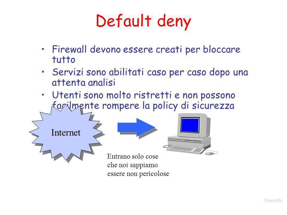 Firewalls Default deny Firewall devono essere creati per bloccare tutto Servizi sono abilitati caso per caso dopo una attenta analisi Utenti sono molt