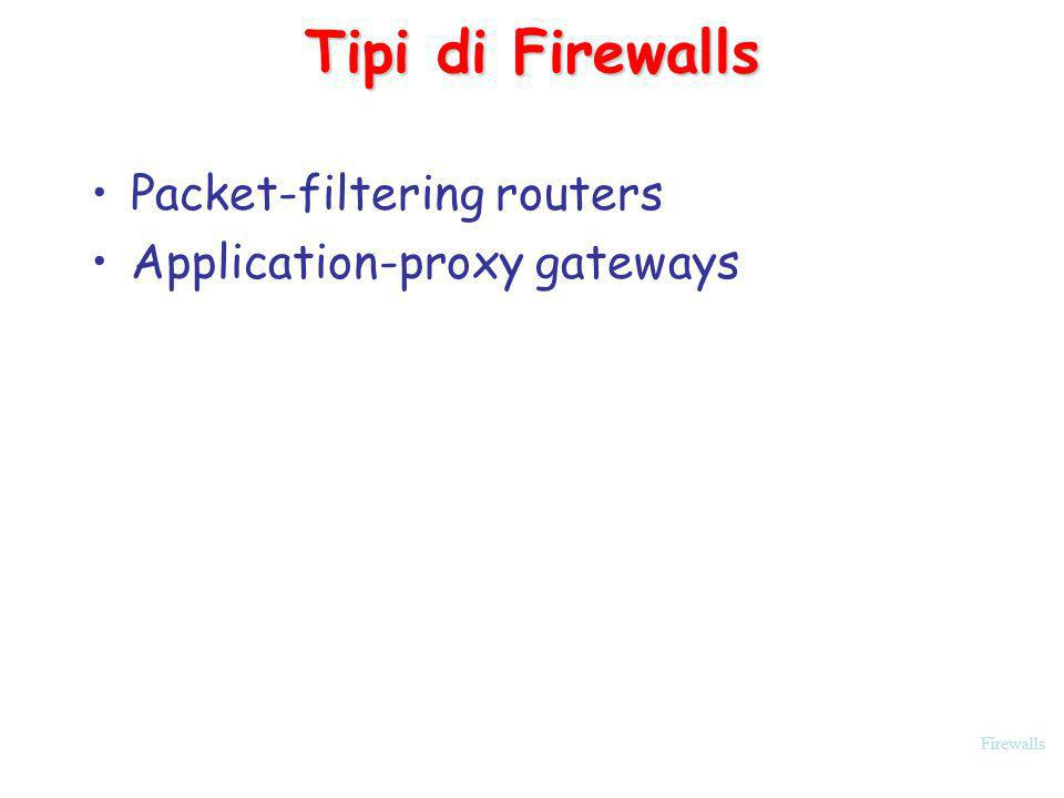 Firewalls Tipi di Firewalls Packet-filtering routers Application-proxy gateways
