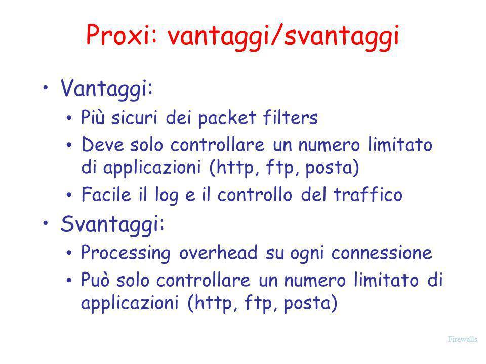 Firewalls Vantaggi: Più sicuri dei packet filters Deve solo controllare un numero limitato di applicazioni (http, ftp, posta) Facile il log e il contr
