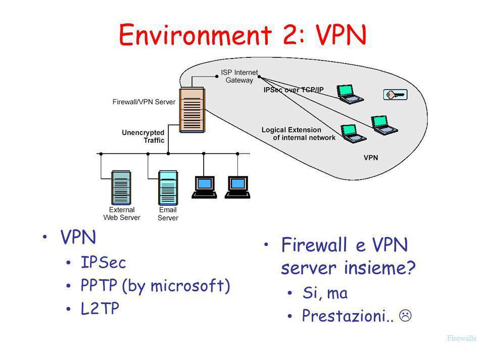 Firewalls Environment 2: VPN VPN IPSec PPTP (by microsoft) L2TP Firewall e VPN server insieme? Si, ma Prestazioni..
