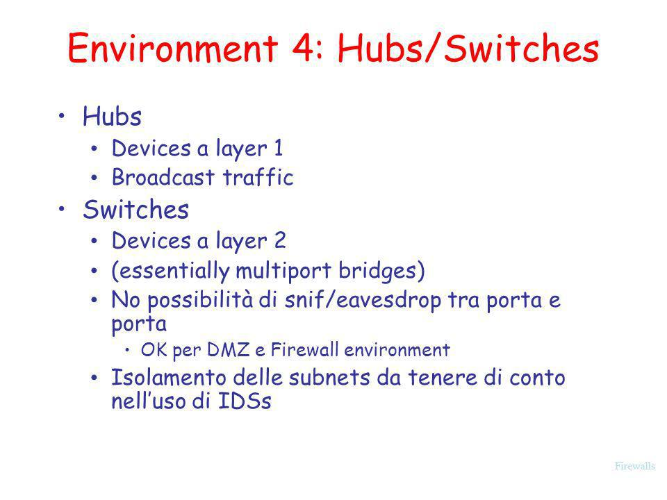 Firewalls Environment 4: Hubs/Switches Hubs Devices a layer 1 Broadcast traffic Switches Devices a layer 2 (essentially multiport bridges) No possibil