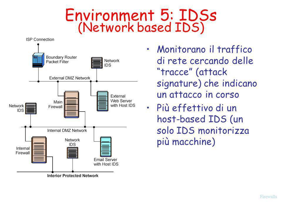 Firewalls Environment 5: IDSs (Network based IDS) Monitorano il traffico di rete cercando delle tracce (attack signature) che indicano un attacco in c