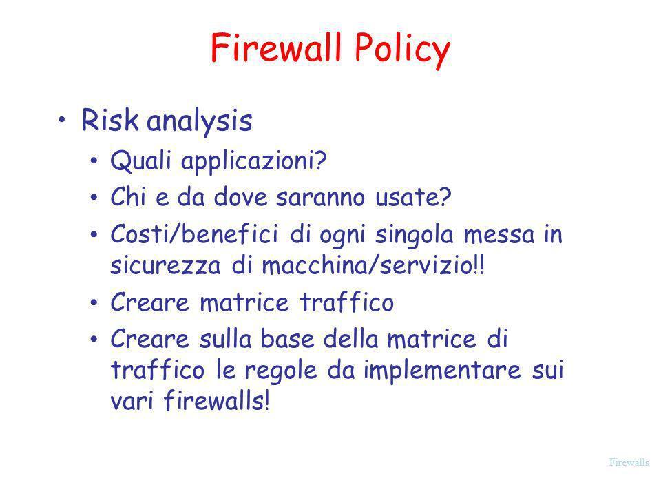 Firewalls Firewall Policy Risk analysis Quali applicazioni? Chi e da dove saranno usate? Costi/benefici di ogni singola messa in sicurezza di macchina