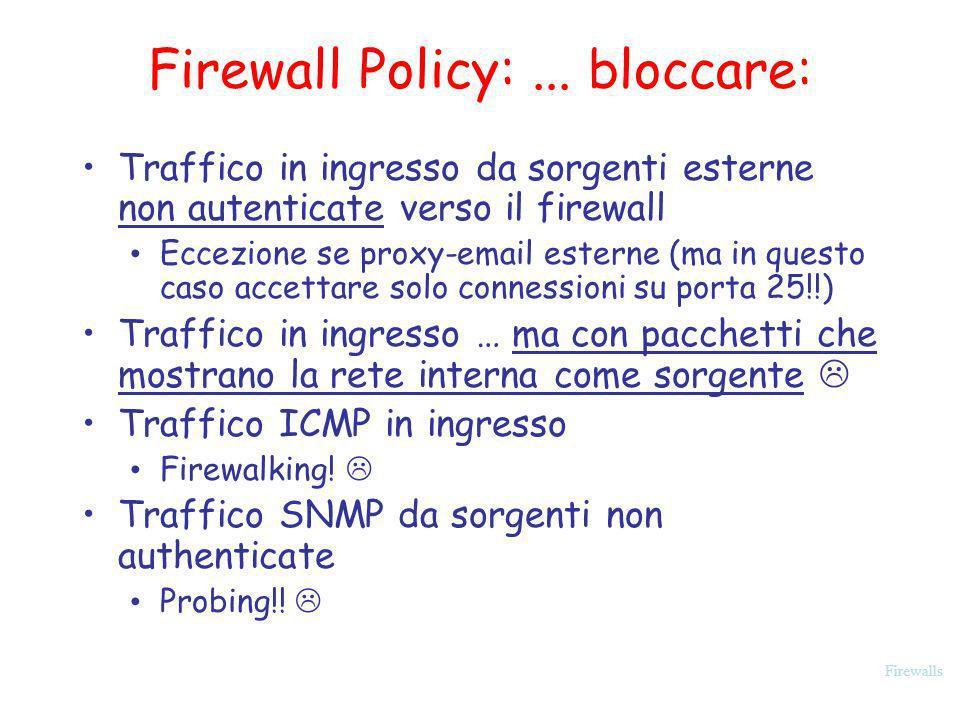 Firewalls Firewall Policy:... bloccare: Traffico in ingresso da sorgenti esterne non autenticate verso il firewall Eccezione se proxy-email esterne (m