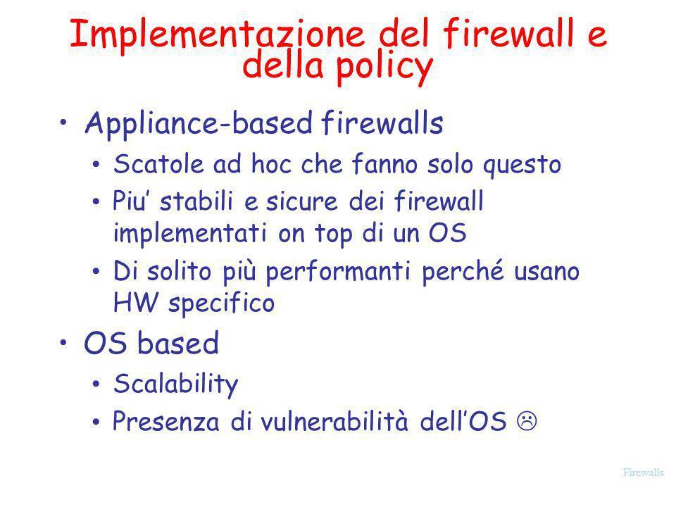 Firewalls Implementazione del firewall e della policy Appliance-based firewalls Scatole ad hoc che fanno solo questo Piu stabili e sicure dei firewall