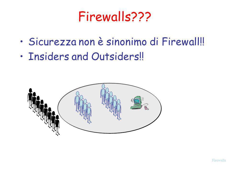 Firewalls Firewall Configurations In aggiunta alla semplice configurazione con un unico sistema (single packet filtering router or single gateway), sono possibili configurazioni più complicate tre tipiche configurazioni