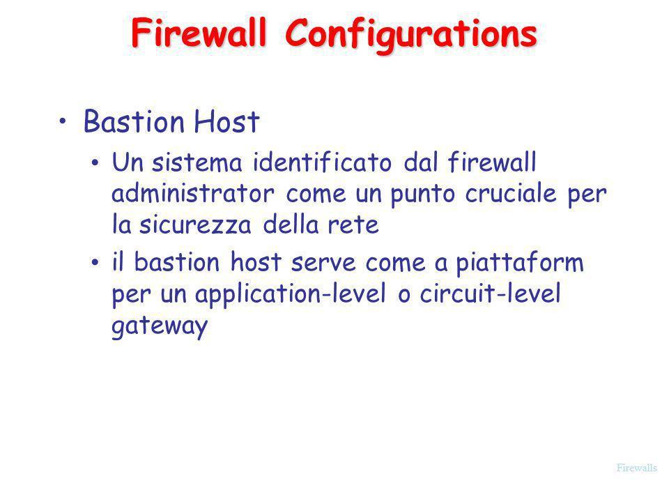 Firewalls Firewall Configurations Bastion Host Un sistema identificato dal firewall administrator come un punto cruciale per la sicurezza della rete i
