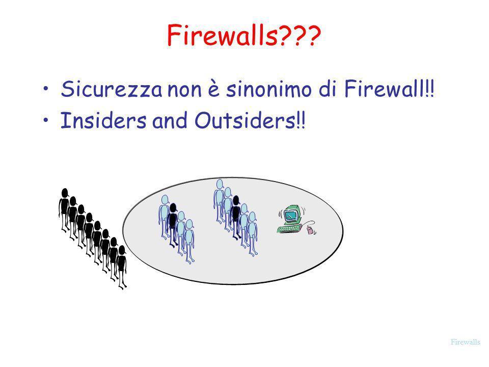 Firewalls Alcuni Commenti negativi sui Firewalls Firewalls sono lapproccio sbagliato: Non risolvono il problema, e rendono impossibile o molto difficile fare molte cose agli utenti interni.