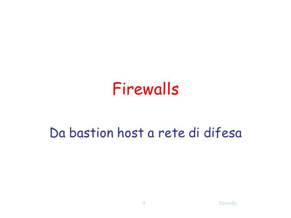 Firewalls Firewalls oggi Firewall non è un componente della rete ma un insieme di componenti che cooperano tra loro Firewall e Intrusion Detection Systems (IDS) Email/web content scanners per virus e malicious code (worms) Personal firewalls … a Policy!.