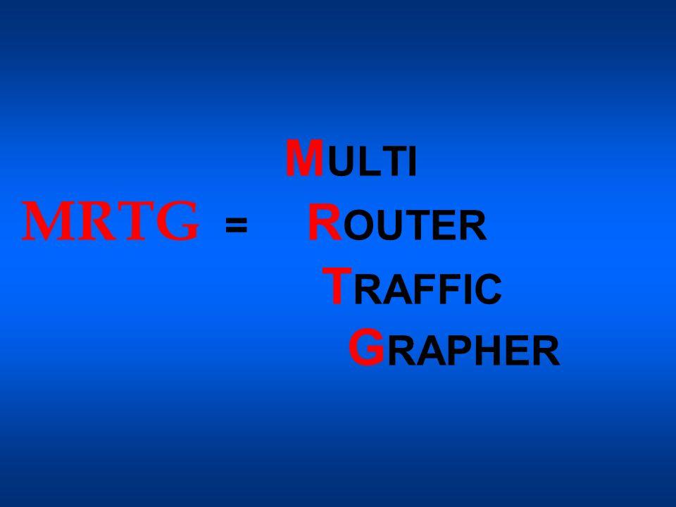 MRTG Strumento che serve a monitorare il carico di traffico esistente sui link di una rete traffico di dati passanti per uno o più router Genera pagine HTML contenenti immagini grafiche che forniscono una rappresentazione visiva LIVE di tale traffico.