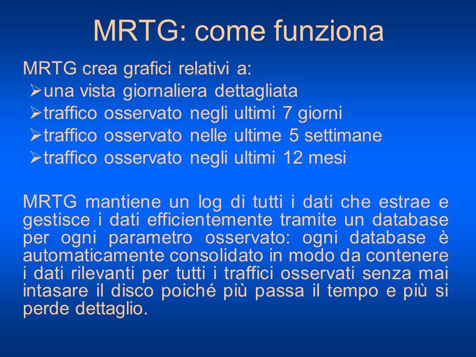 MRTG: come funziona MRTG crea grafici relativi a: una vista giornaliera dettagliata traffico osservato negli ultimi 7 giorni traffico osservato nelle