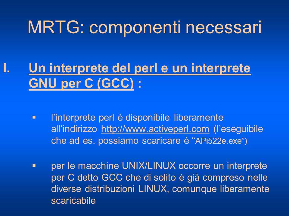 MRTG: componenti necessari I.Un interprete del perl e un interprete GNU per C (GCC) : linterprete perl è disponibile liberamente allindirizzo http://w