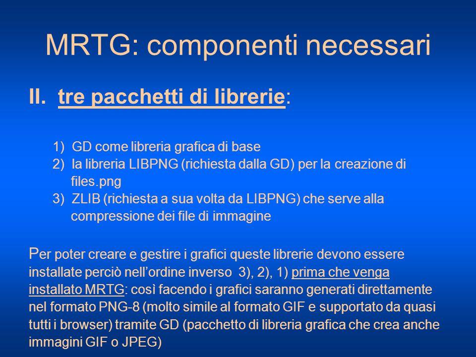 MRTG: componenti necessari II. tre pacchetti di librerie: 1) GD come libreria grafica di base 2) la libreria LIBPNG (richiesta dalla GD) per la creazi