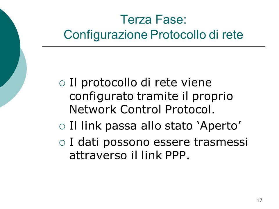 17 Terza Fase: Configurazione Protocollo di rete Il protocollo di rete viene configurato tramite il proprio Network Control Protocol.