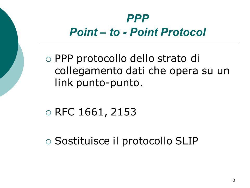 3 PPP Point – to - Point Protocol PPP protocollo dello strato di collegamento dati che opera su un link punto-punto. RFC 1661, 2153 Sostituisce il pro