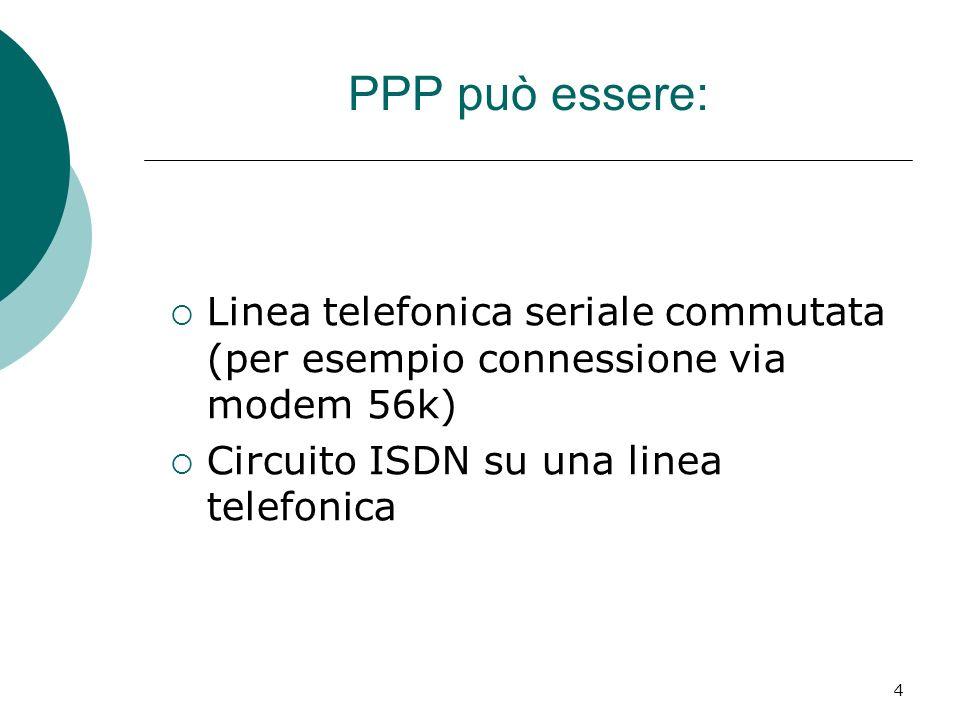 4 PPP può essere: Linea telefonica seriale commutata (per esempio connessione via modem 56k) Circuito ISDN su una linea telefonica