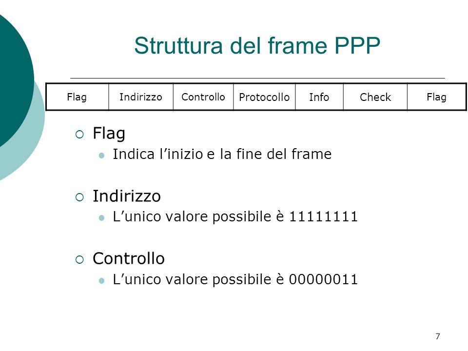 7 Struttura del frame PPP Flag Indica linizio e la fine del frame Indirizzo Lunico valore possibile è 11111111 Controllo Lunico valore possibile è 000