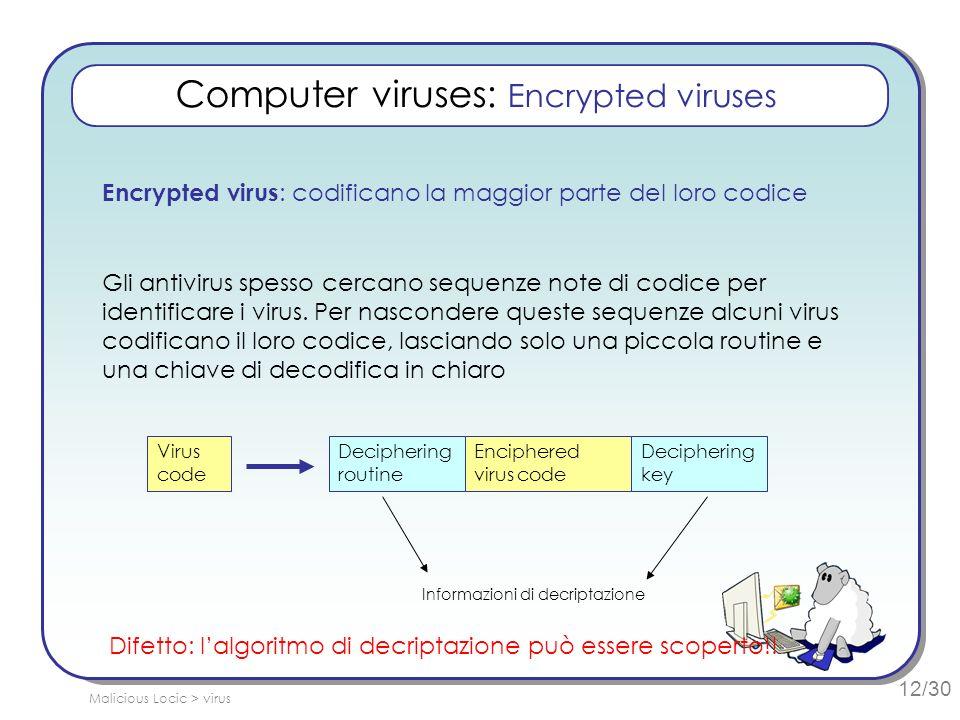 12/30 Computer viruses: Encrypted viruses Encrypted virus : codificano la maggior parte del loro codice Gli antivirus spesso cercano sequenze note di codice per identificare i virus.