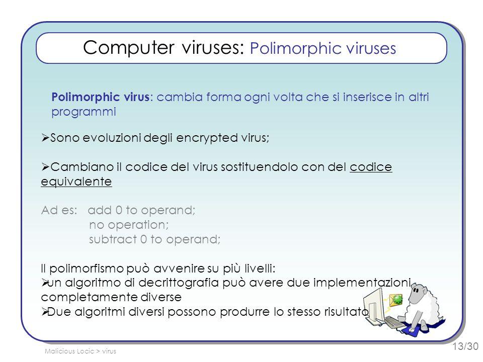 13/30 Computer viruses: Polimorphic viruses Polimorphic virus : cambia forma ogni volta che si inserisce in altri programmi Sono evoluzioni degli encr
