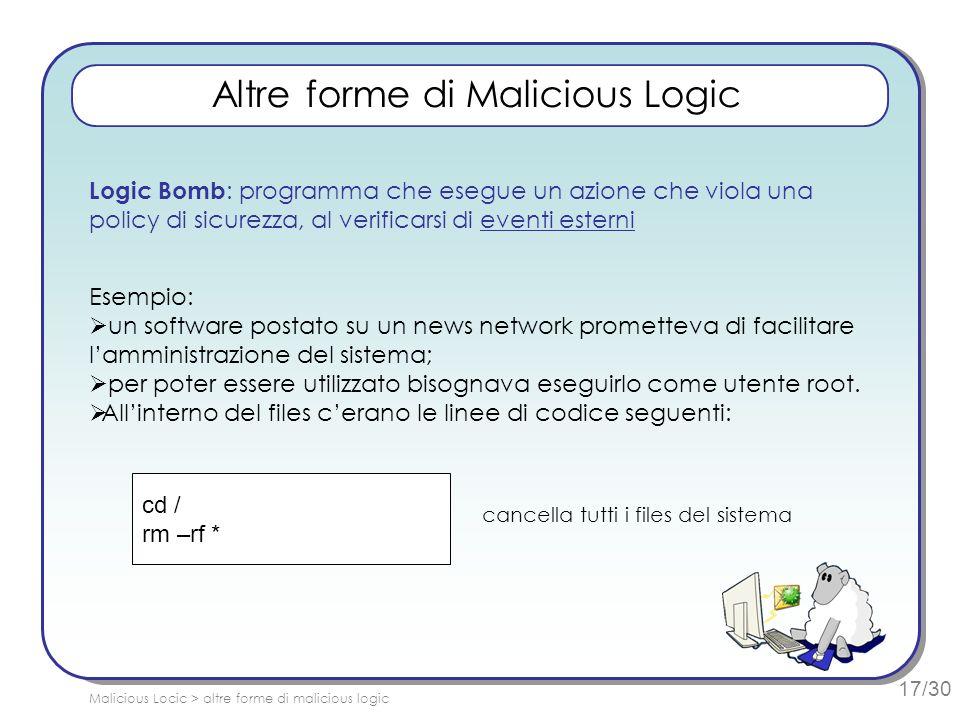 17/30 Altre forme di Malicious Logic Logic Bomb : programma che esegue un azione che viola una policy di sicurezza, al verificarsi di eventi esterni E