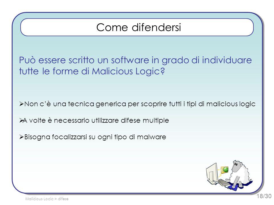 18/30 Può essere scritto un software in grado di individuare tutte le forme di Malicious Logic.
