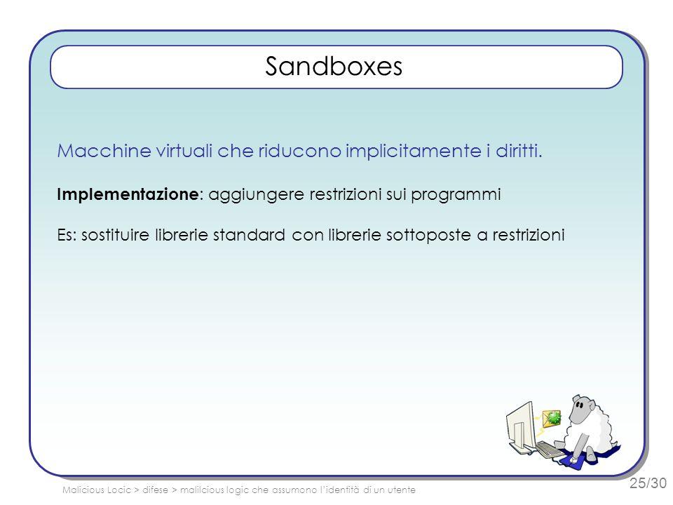 25/30 Sandboxes Macchine virtuali che riducono implicitamente i diritti. Implementazione : aggiungere restrizioni sui programmi Es: sostituire libreri