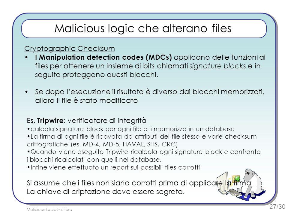 27/30 Malicious logic che alterano files Cryptographic Checksum I Manipulation detection codes (MDCs) applicano delle funzioni ai files per ottenere un insieme di bits chiamati signature blocks e in seguito proteggono questi blocchi.
