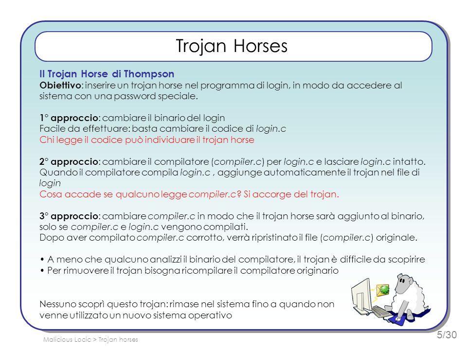 5/30 Trojan Horses Il Trojan Horse di Thompson Obiettivo : inserire un trojan horse nel programma di login, in modo da accedere al sistema con una pas