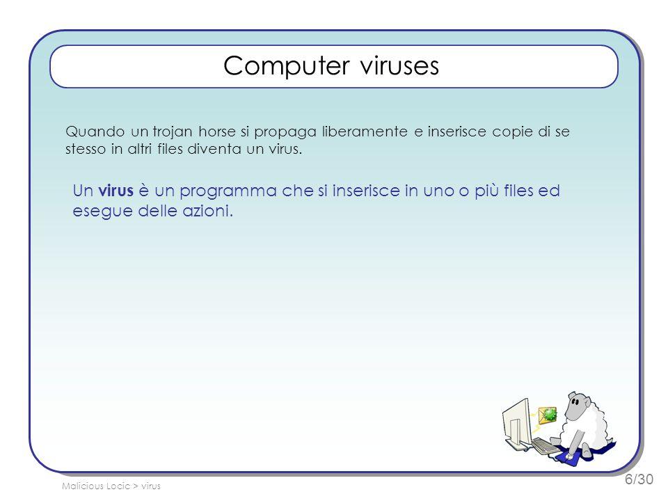 6/30 Computer viruses Quando un trojan horse si propaga liberamente e inserisce copie di se stesso in altri files diventa un virus.