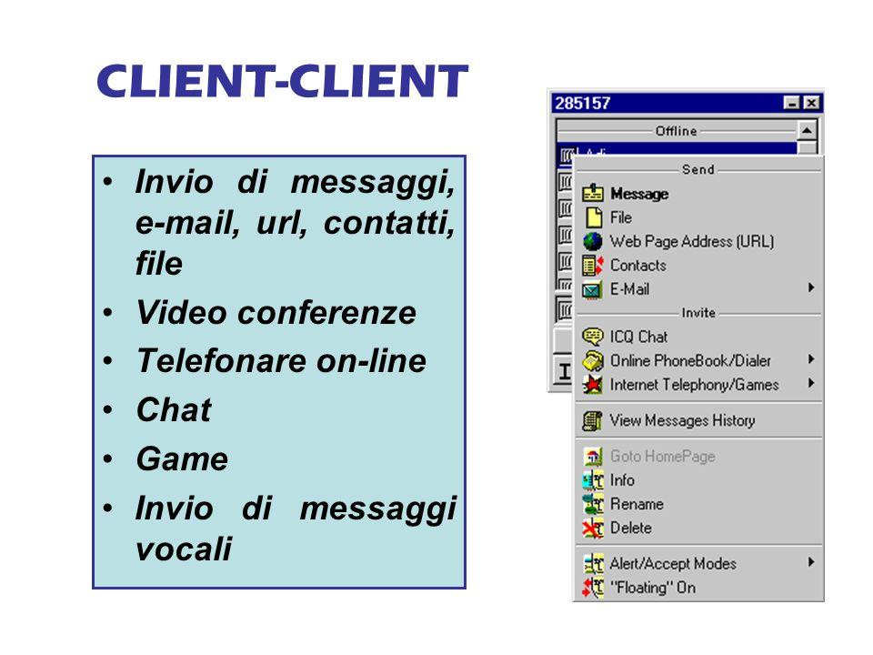 CLIENT-CLIENT Invio di messaggi, e-mail, url, contatti, file Video conferenze Telefonare on-line Chat Game Invio di messaggi vocali
