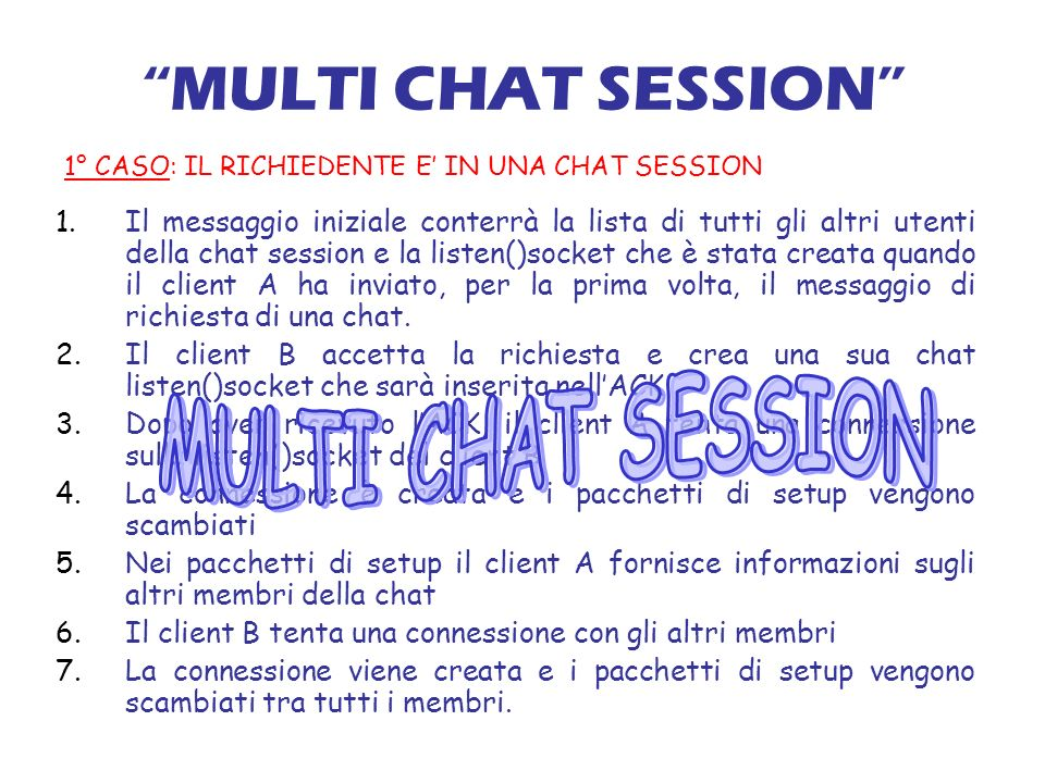 MULTI CHAT SESSION 1.Il messaggio iniziale conterrà la lista di tutti gli altri utenti della chat session e la listen()socket che è stata creata quando il client A ha inviato, per la prima volta, il messaggio di richiesta di una chat.
