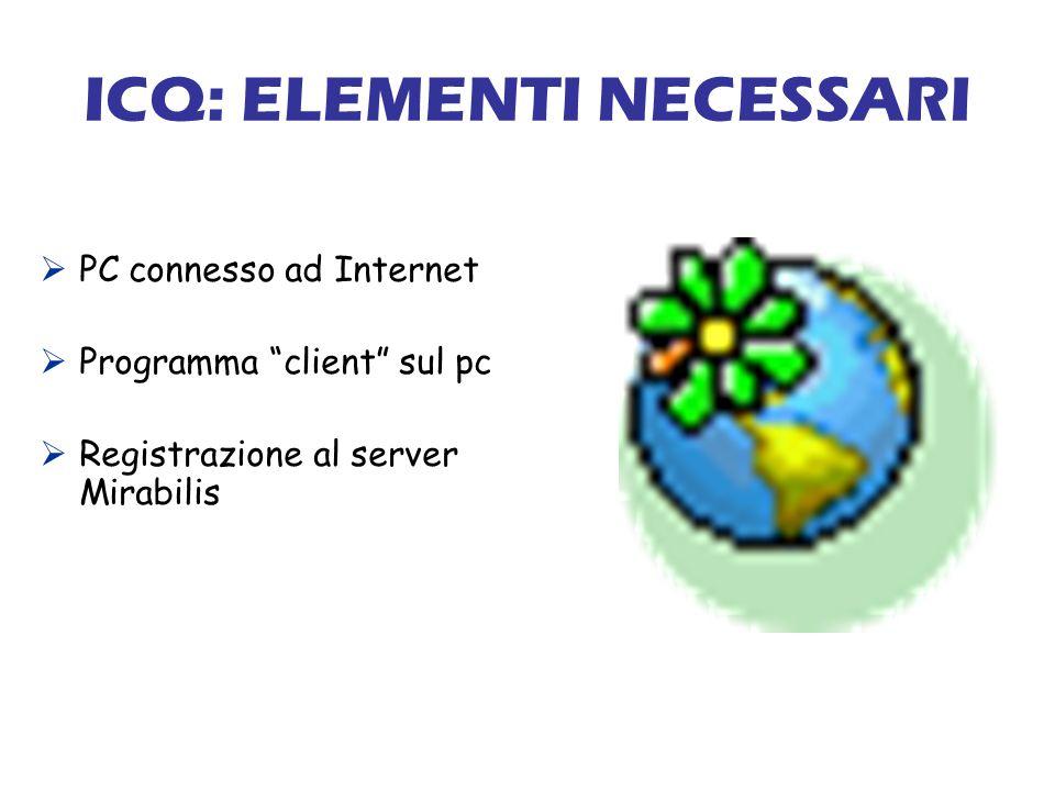 ICQ: ELEMENTI NECESSARI PC connesso ad Internet Programma client sul pc Registrazione al server Mirabilis